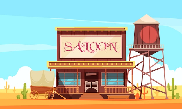 Wild west with saloon and water tower Free Vector