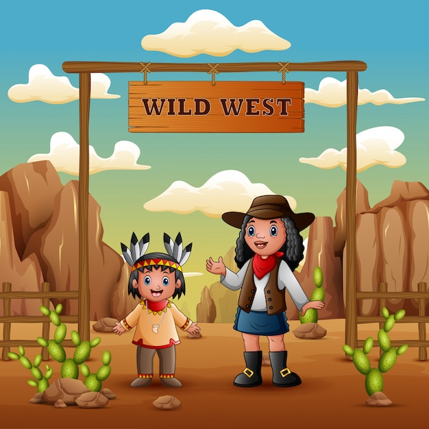 Wild west with young african cowgirls and indian girl Premium Vector