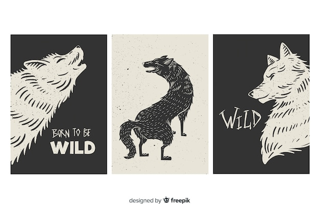 Wild wolf card collection, black and white Free Vector