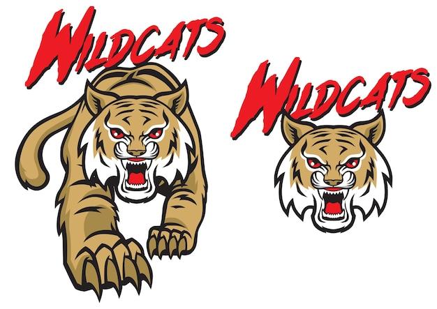 Wildcats mascot set Premium Vector