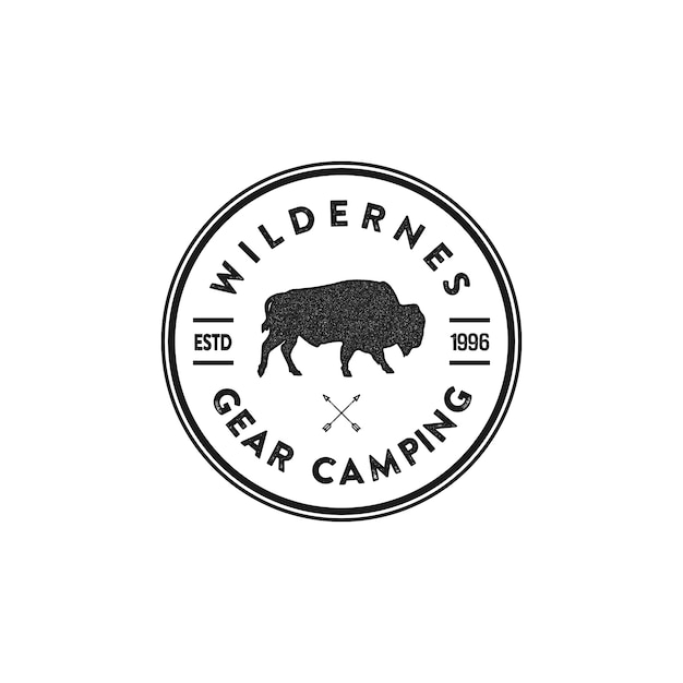 Wilderness animal badges and great outdoors activity emblems Premium Vector