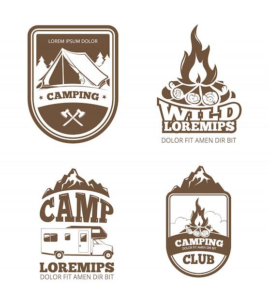 Wilderness and nature exploration vintage  labels, emblems, logos, badges Premium Vector