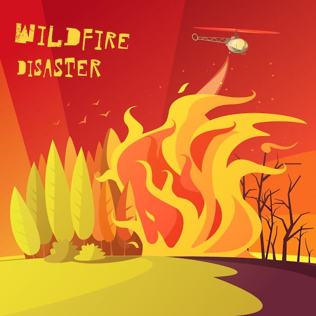 Wildfire disaster illustration Free Vector