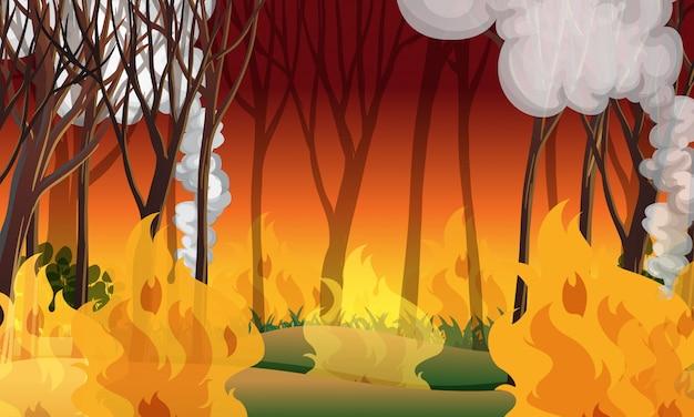 A wildfire disaster landscape Premium Vector