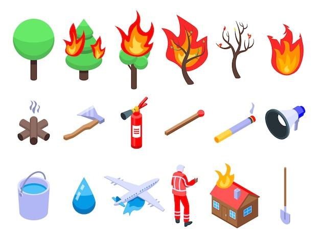 Набор иконок wildfire, изометрический стиль Premium векторы