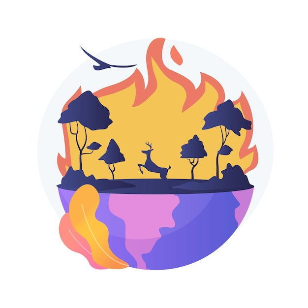Wildfires abstract concept   illustration. forest fires, firefighting, wildfires cause, wild animals loss, global warming consequence, natural disaster, hot temperature Free Vector