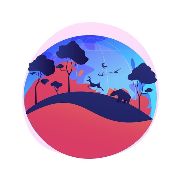 Иллюстрация абстрактной концепции лесных пожаров. лесные пожары, пожаротушение, причины лесных пожаров, потеря диких животных, последствия глобального потепления, стихийные бедствия, высокая температура Бесплатные векторы