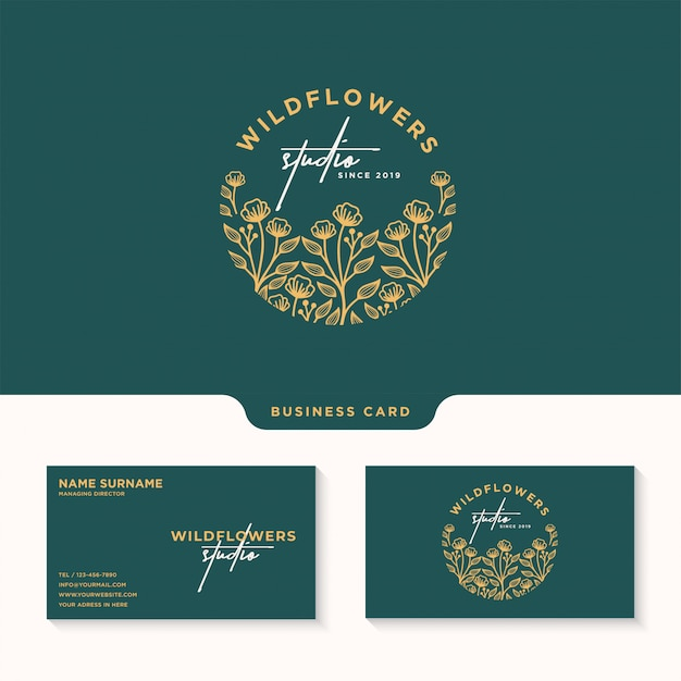 Женственный цветочный логотип, логотип студии wildflower и шаблон визитной карточки Premium векторы