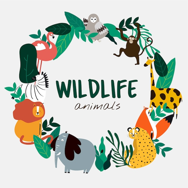 Wildlife animals cartoon style animals template vector Free Vector