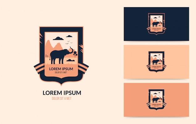 Wildlife logo with walking elephant, outdoor adventure concept Premium Vector