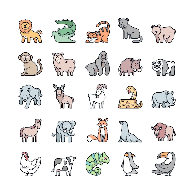 Wildlife outline color icons set Premium Vector