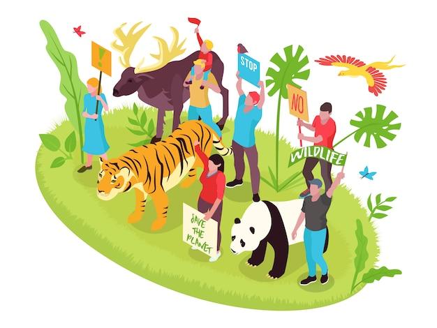 Concetto isometrico di protezione della fauna selvatica con persone natura e animali Vettore gratuito