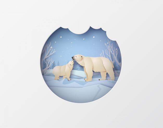 Wildlife winter scenes with polar bear Premium Vector