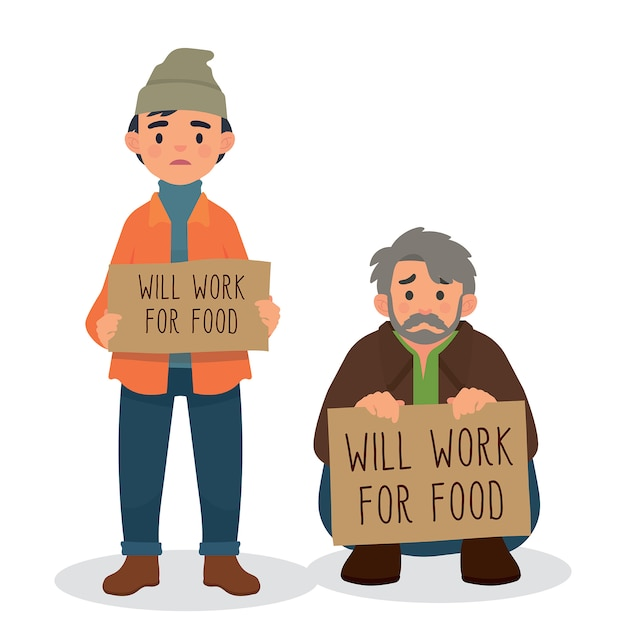 Will work for food character people, homeless holding sign Premium Vector