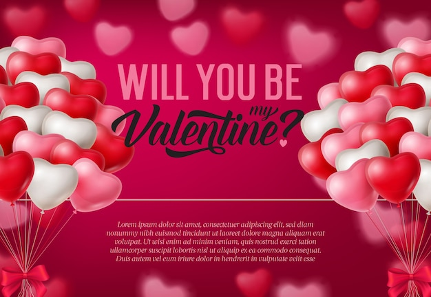 Will you be my valentine inscription, bunches of balloons Free Vector