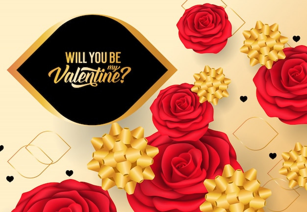 Will you be my valentine lettering with red roses and bows Free Vector
