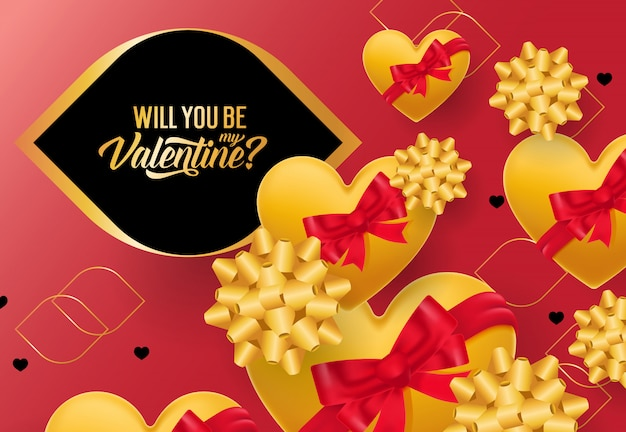 Sarai il mio biglietto di s. valentino con i cuori gialli Vettore gratuito
