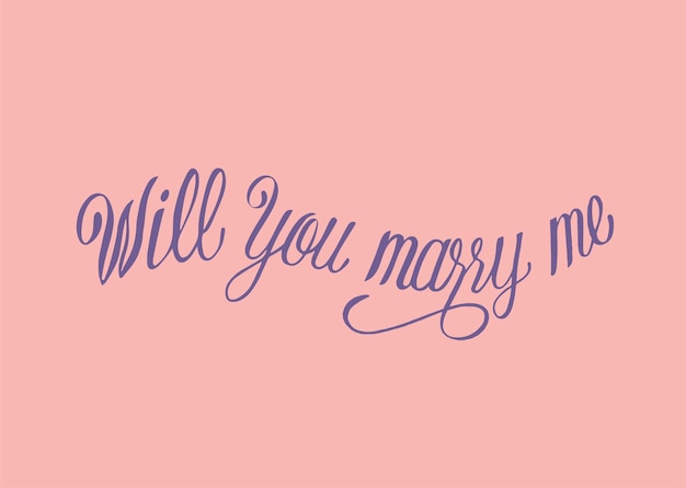 Will you marry me typography design Free Vector