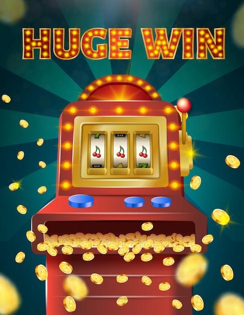 Огромный win banner, игровой автомат с тремя вишнями Premium векторы