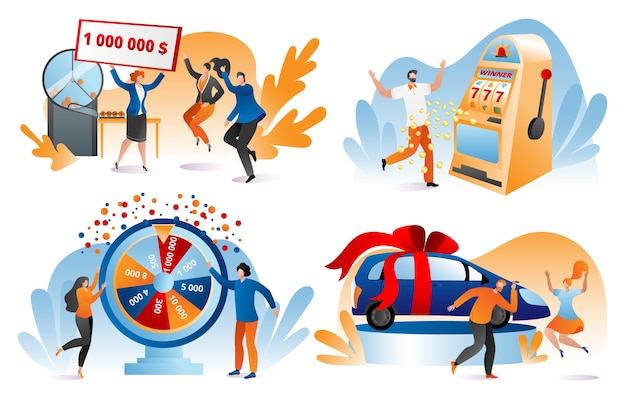 Win lottery prize, fortune winners set of  illustrations. lucky people holding bank check for million dollars. winning lottery, prize, car. gambling, casino chance to play and win. Premium Vector
