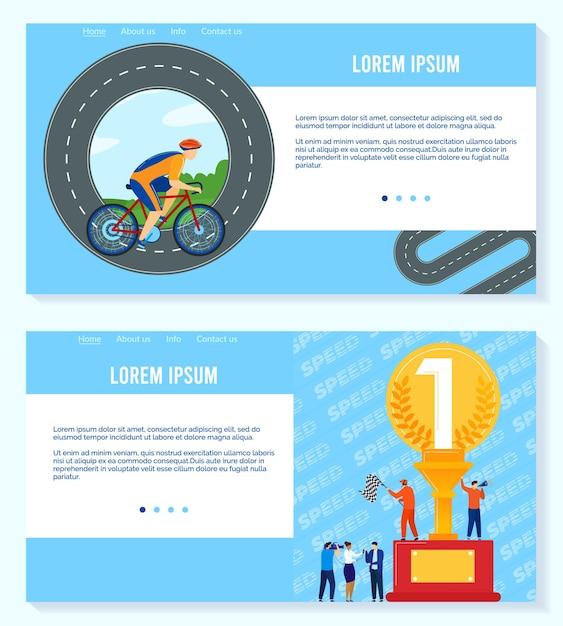 Win in sport competition  illustration set. Premium Vector