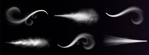 Дует ветер или пыль, витиеватый белый дым, порошок или капли воды. туман, дымная струя, испарение паров химических или косметических продуктов, дымка. реалистичные 3d изолированных клипарта Бесплатные векторы