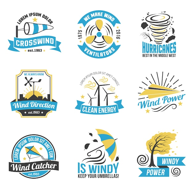 Wind energy power flat emblems collection Free Vector