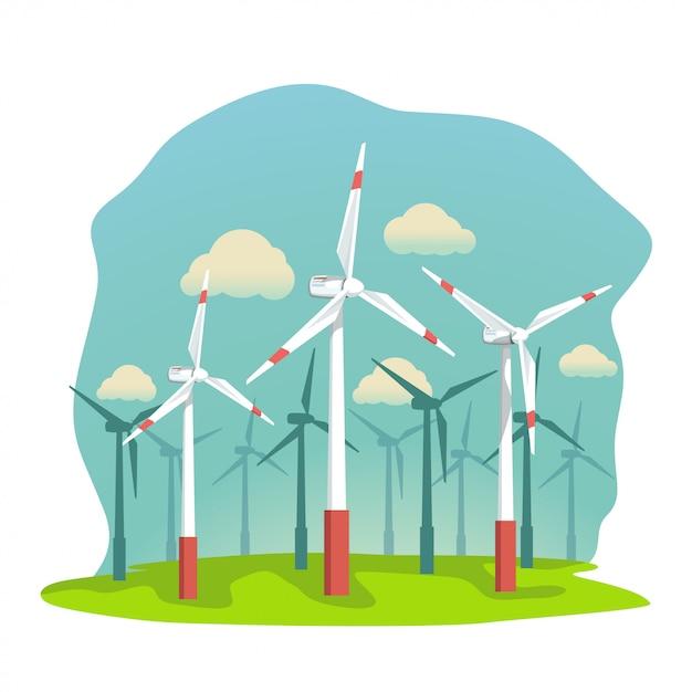 フィールド上の風力タービン Premiumベクター