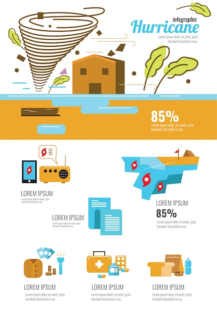 Wind Infographic Tornado And Hurricane Set With Natural
