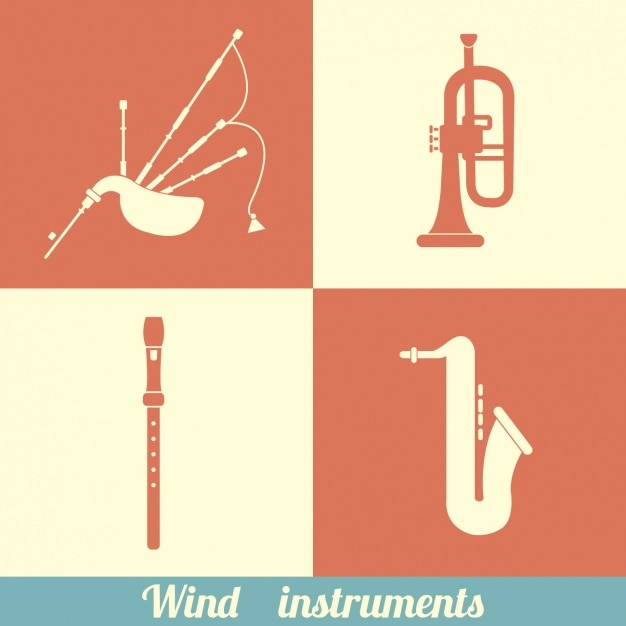 Wind instruments design Free Vector