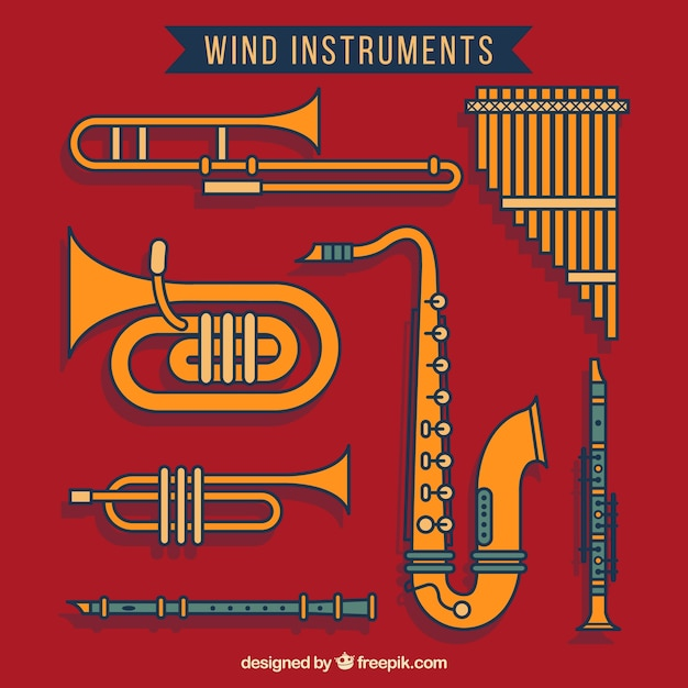 Wind instruments Free Vector