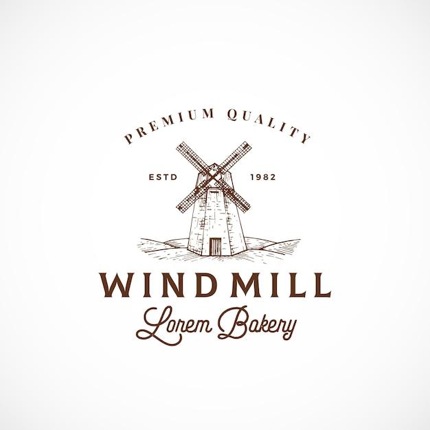 Segno astratto, simbolo o logo del forno del mulino a vento Vettore gratuito