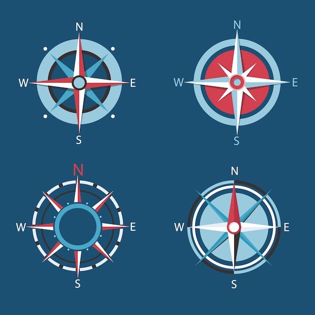 Wind rose, compass set. Premium Vector