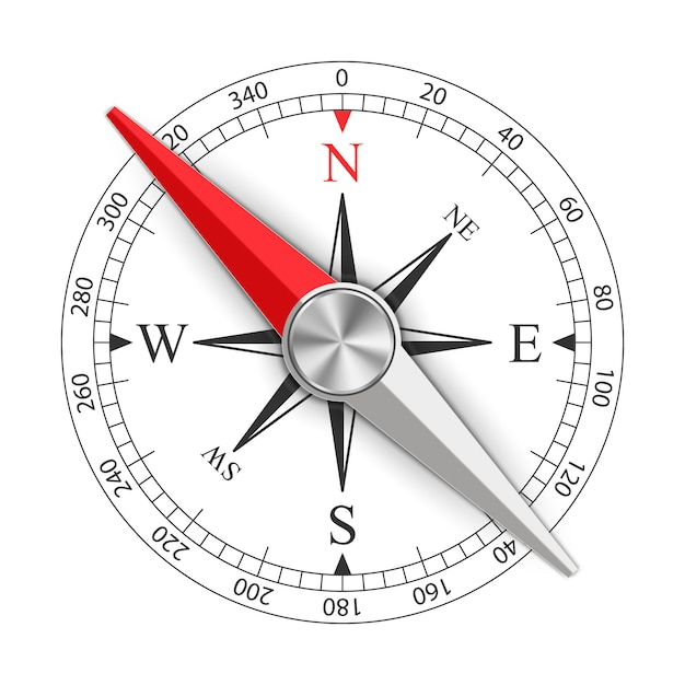 Wind rose magnetic compass Premium Vector