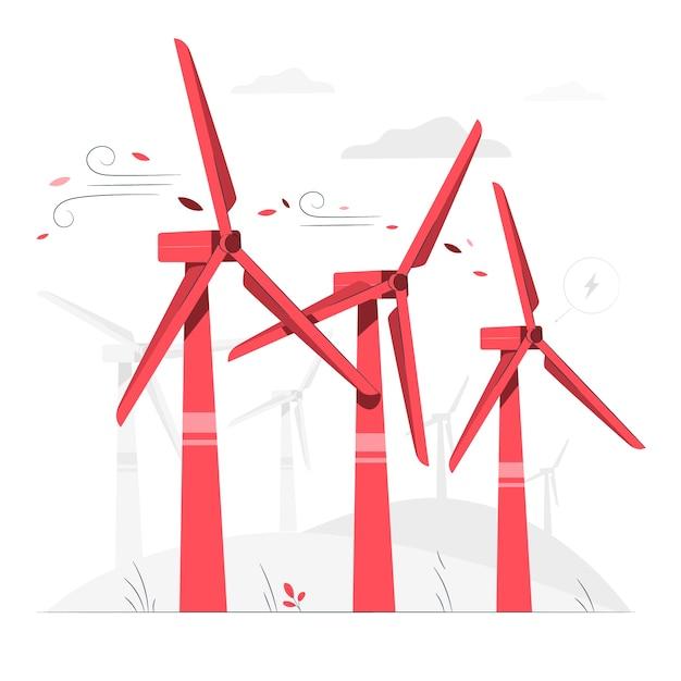 Иллюстрация концепции ветротурбины Бесплатные векторы