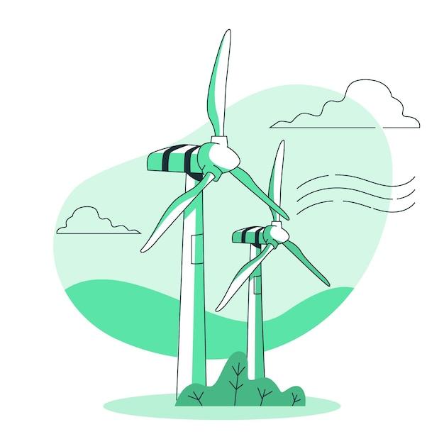 風力タービンの概念図 無料ベクター
