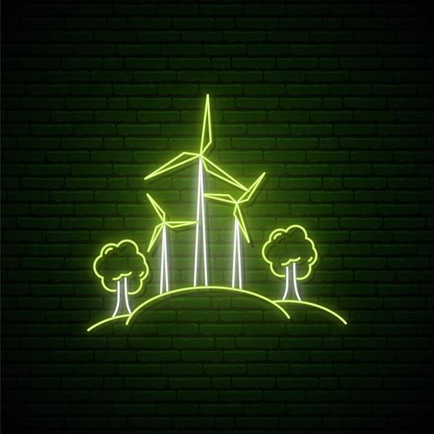 ネオン風の風力タービン。 Premiumベクター