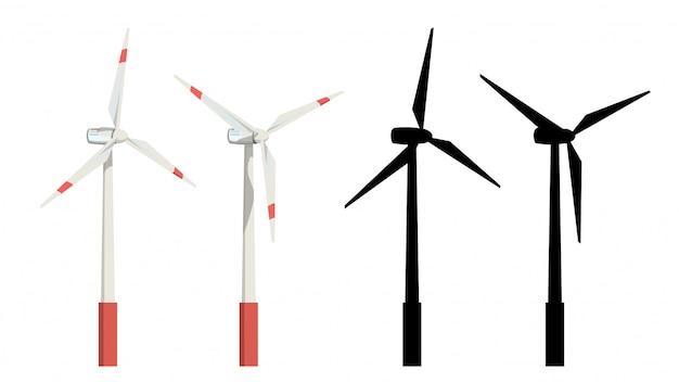 風力タービンセット Premiumベクター