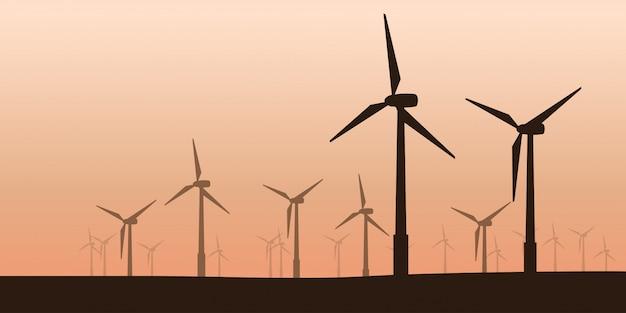 風力タービンのシルエット Premiumベクター
