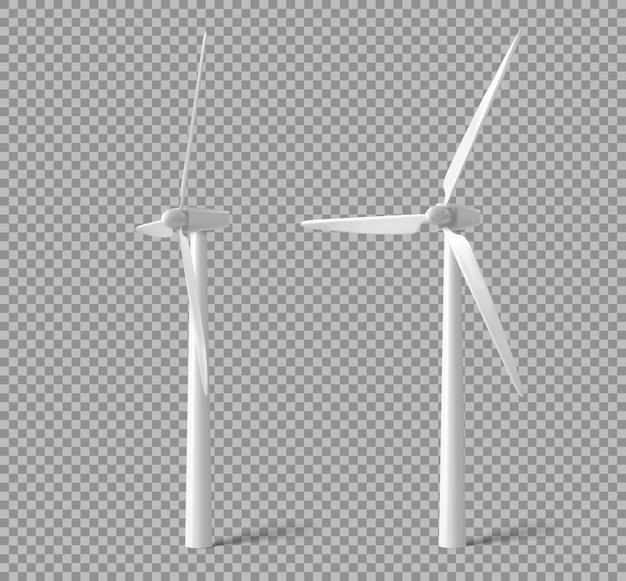 風力タービン、風車、エネルギー発電機 無料ベクター