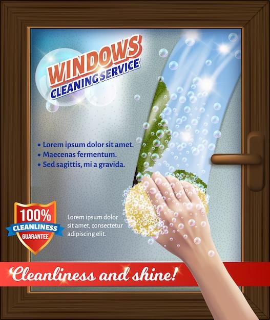 Windaws clean service. bast in hand. wash window. Premium Vector