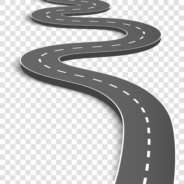 Winding curved road. highway with markings. Premium Vector