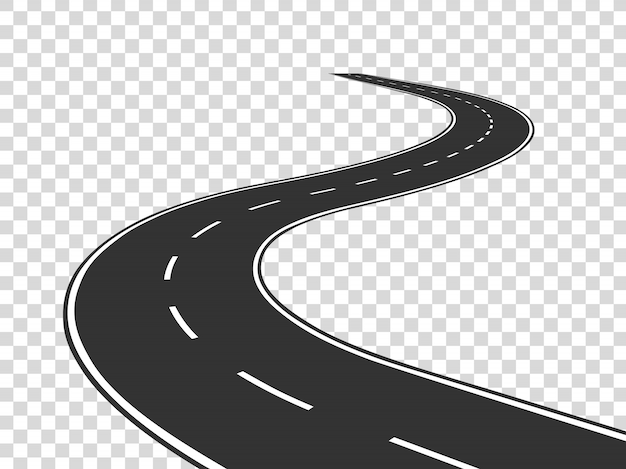 Winding road. journey traffic curved highway. road to horizon in perspective. winding asphalt empty line isolated concept Premium Vector