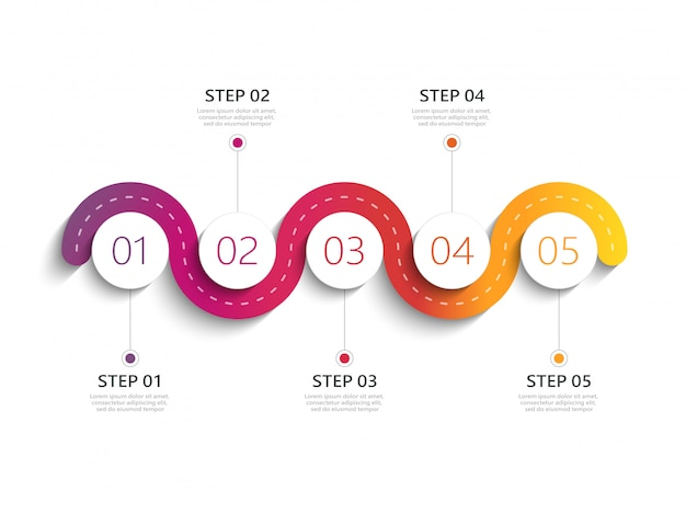 Winding road modern infographic template with a phased structure Premium Vector