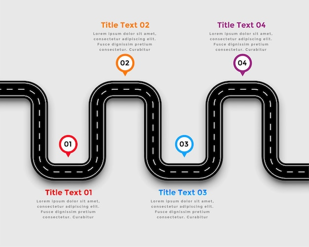 Winding road pathway infographic template design Free Vector