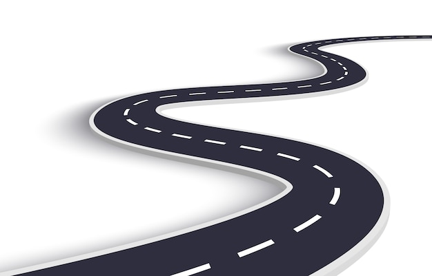 Winding road on a white isolated background Premium Vector