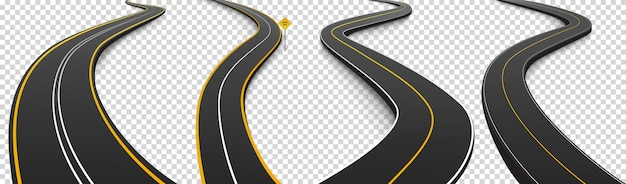 Winding roads, black asphalt highways with white and yellow marking Free Vector