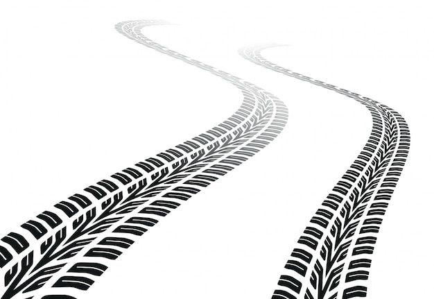 Winding trace of the tires Premium Vector