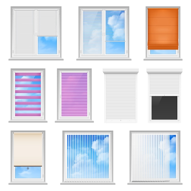 Window blinds colored flat set Free Vector