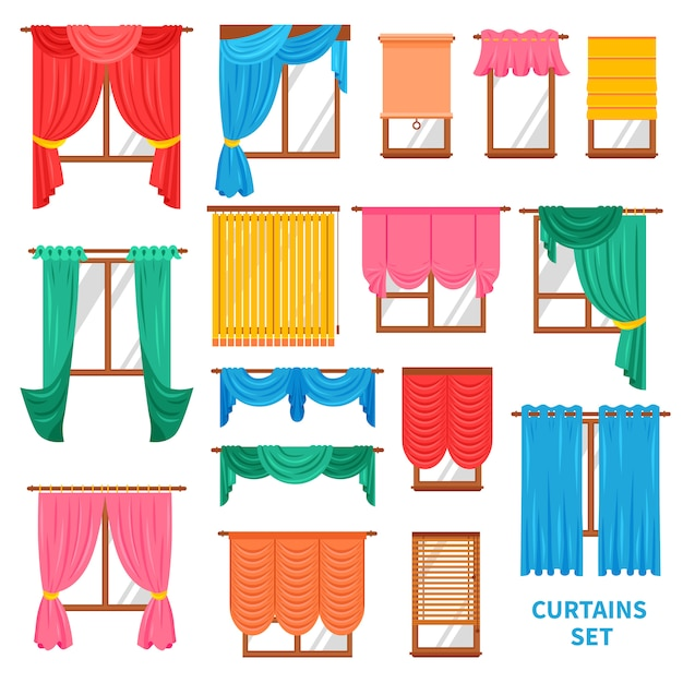 Window curtains and blinds set Free Vector
